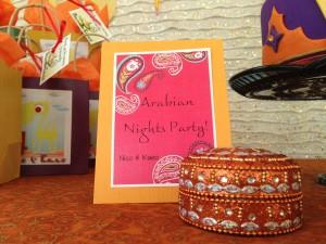 Arabian night kids birthday party wishing cards