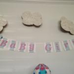 Hot Balloon themed baby shower banner baby girl